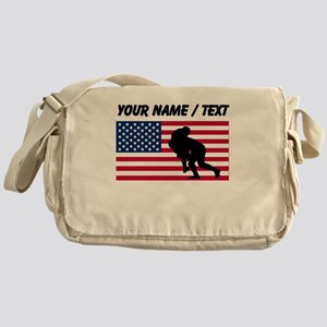 Custom Rugby Tackle American Flag Messenger Bag