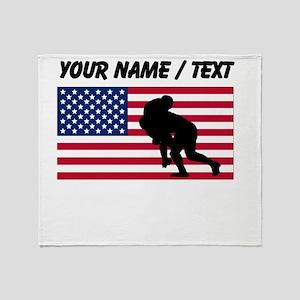 Custom Rugby Tackle American Flag Throw Blanket