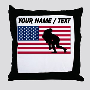 Custom Rugby Tackle American Flag Throw Pillow