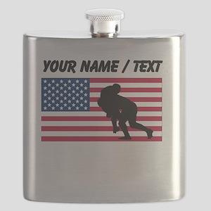 Custom Rugby Tackle American Flag Flask