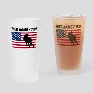 Custom Rugby Tackle American Flag Drinking Glass