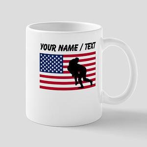 Custom Rugby Tackle American Flag Mugs