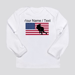 Custom Rugby Tackle American Flag Long Sleeve T-Sh