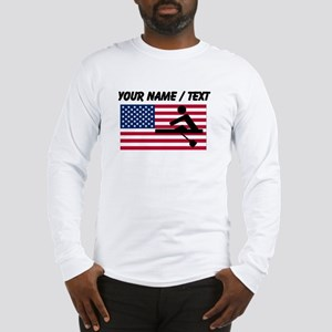 Custom Rowing American Flag Long Sleeve T-Shirt