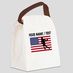 Custom Lacrosse American Flag Canvas Lunch Bag