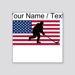 Custom Hockey American Flag Sticker
