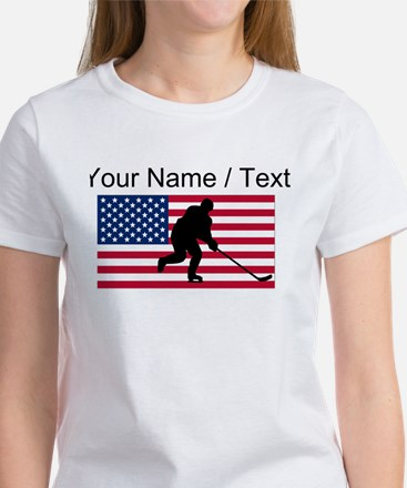 Custom Hockey American Flag T-Shirt