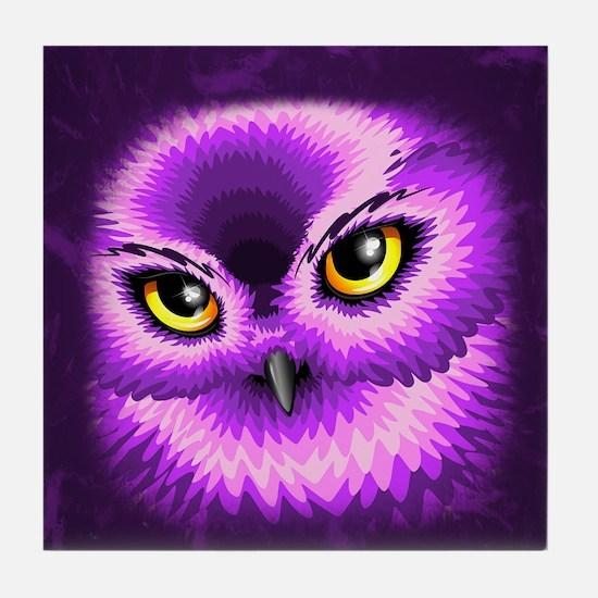 Pink Owl Eyes Tile Coaster