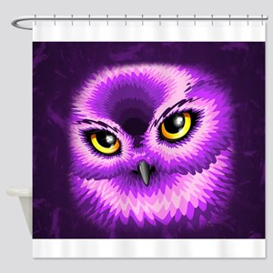 Pink Owl Eyes Shower Curtain