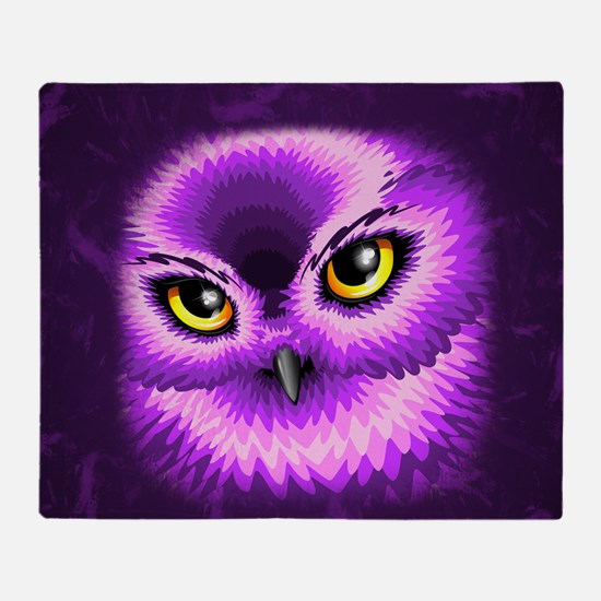 Pink Owl Eyes Throw Blanket