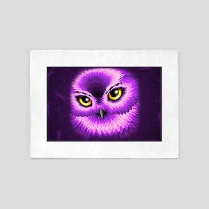 Pink Owl Eyes 5'x7'Area Rug