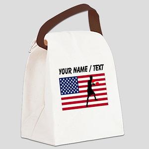 Custom Boxing American Flag Canvas Lunch Bag