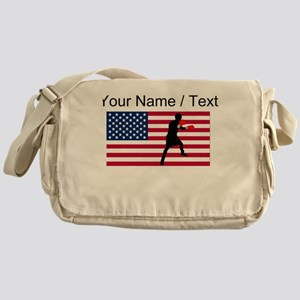 Custom Boxing American Flag Messenger Bag