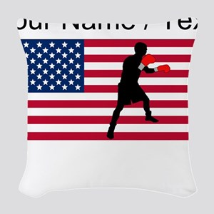 Custom Boxing American Flag Woven Throw Pillow