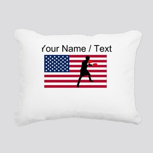 Custom Boxing American Flag Rectangular Canvas Pil