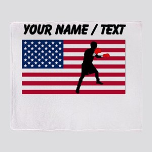 Custom Boxing American Flag Throw Blanket