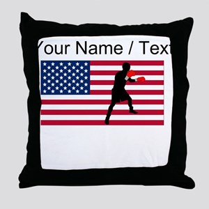 Custom Boxing American Flag Throw Pillow