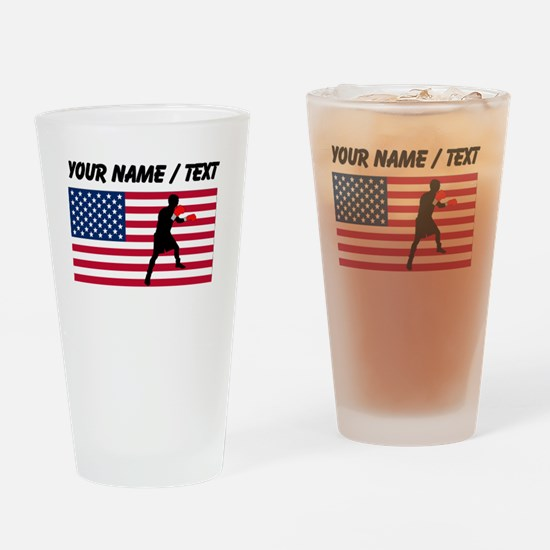 Custom Boxing American Flag Drinking Glass