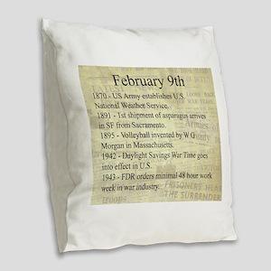February 9th Burlap Throw Pillow