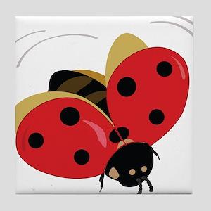 Red Ladybug-3 Tile Coaster