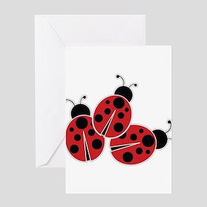 Trio of Ladybugs Greeting Cards