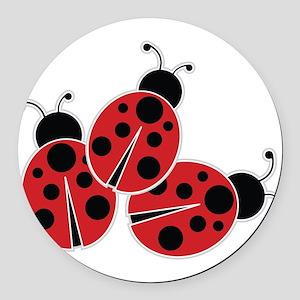 Trio of Ladybugs Round Car Magnet