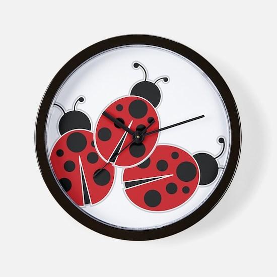 Trio of Ladybugs Wall Clock