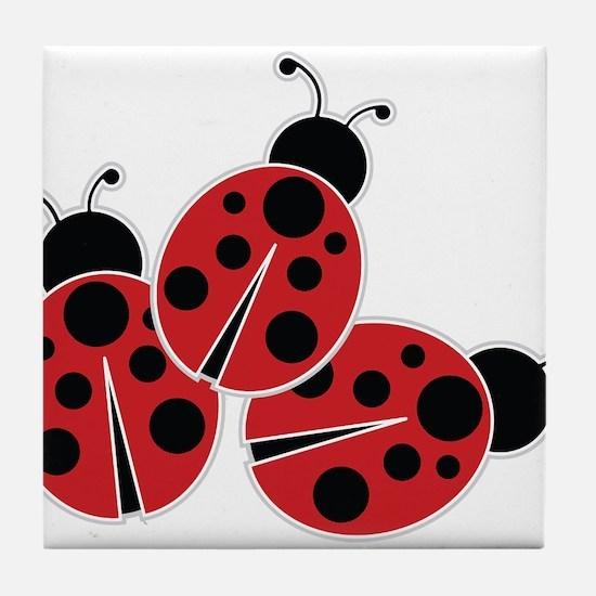 Trio of Ladybugs Tile Coaster
