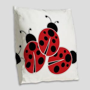Trio of Ladybugs Burlap Throw Pillow