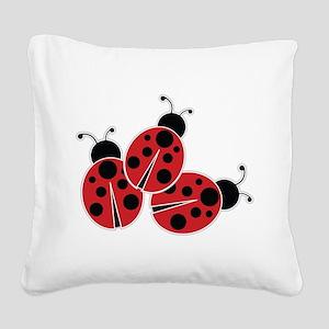 Trio of Ladybugs Square Canvas Pillow