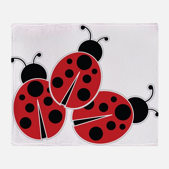 Trio of Ladybugs Throw Blanket