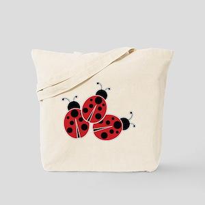 Trio of Ladybugs Tote Bag