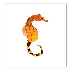 Big belly Seahorse Square Car Magnet 3