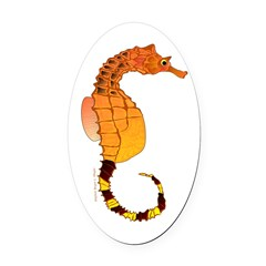 Big belly Seahorse Oval Car Magnet