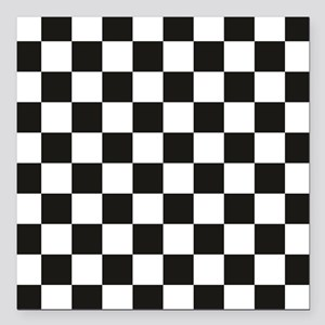 "Big Black/White Checkerb Square Car Magnet 3"" x 3"""