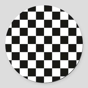 Big Black/White Checkerboard Chec Round Car Magnet