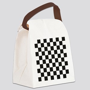 Big Black/White Checkerboard Chec Canvas Lunch Bag
