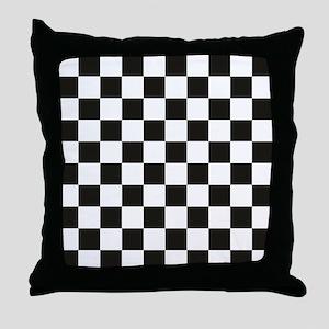 Big Black/White Checkerboard Checkere Throw Pillow