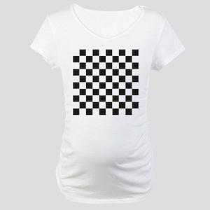 Big Black/White Checkerboard Che Maternity T-Shirt