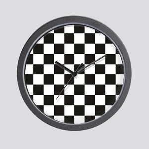 Big Black/White Checkerboard Checkered  Wall Clock