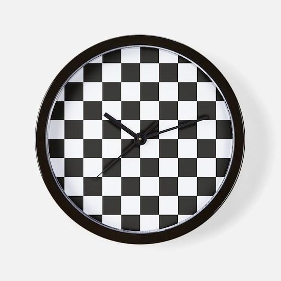 Big Black/White Checkerboard Checkered  Wall Clock