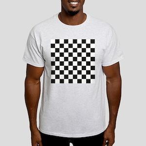 Big Black/White Checkerboard Checker Light T-Shirt