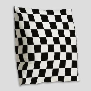 Big Black/White Checkerboard C Burlap Throw Pillow