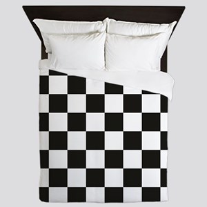 Big Black/White Checkerboard Checkered Queen Duvet