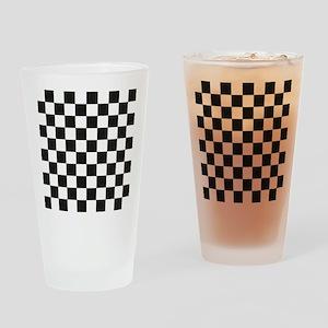 Big Black/White Checkerboard Checke Drinking Glass