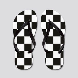 Big Black/White Checkerboard Checkered  Flip Flops