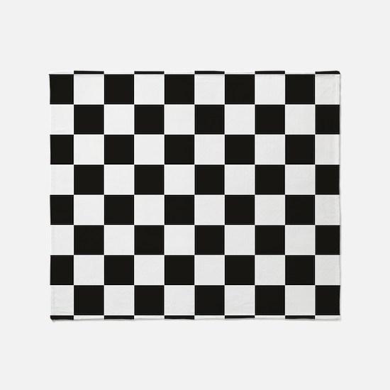 Big Black/White Checkerboard Checker Throw Blanket