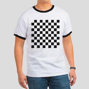 Big Black/White Checkerboard Checkered Fl Ringer T
