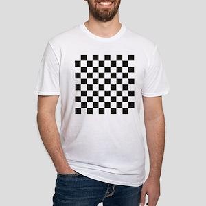 Big Black/White Checkerboard Checke Fitted T-Shirt