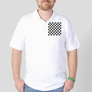 Big Black/White Checkerboard Checkered  Golf Shirt